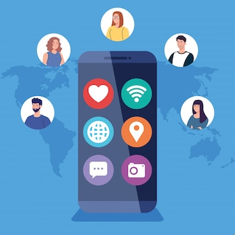 Réseau social, personnes avec smartphone, connecté pour concept numérique, interactif, de communication et global