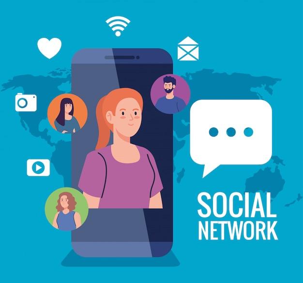 Réseau social, personnes avec smartphone et icônes de médias sociaux, interactif, communication et concept global