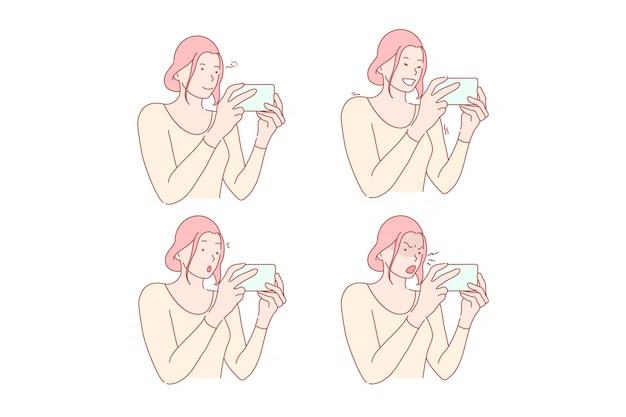 Réseau social ou smm set illustration