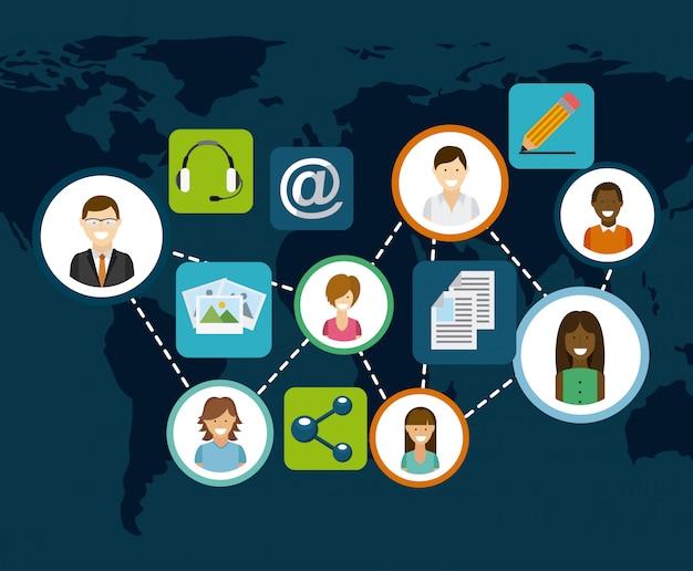 Réseau Social Vecteur Premium
