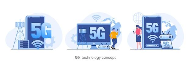 Réseau de technologie 5g, concept de signal internet, vecteur d'illustration plat