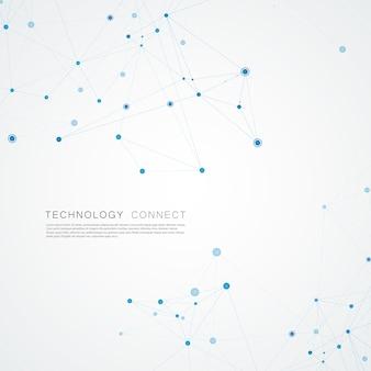 Le réseau technologique se connecte avec des points et des lignes. contexte créatif de la science