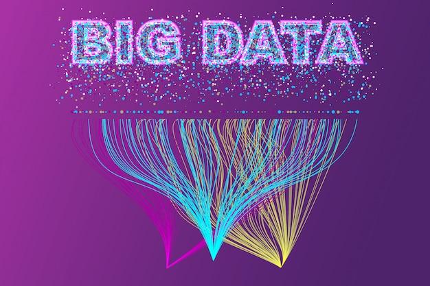 Réseau de visualisation de big data. infographie futuriste, vague 3d, flux virtuel, son numérique, musique.