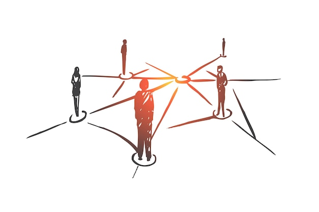 Réseautage, internet, connexion, web, concept social. gens dessinés à la main connectés via un croquis de concept internet.