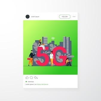 Réseaux 5g et concept de télécommunications. les personnes utilisant des appareils numériques. illustration vectorielle plane pour internet rapide, interaction, sujets de médias sociaux