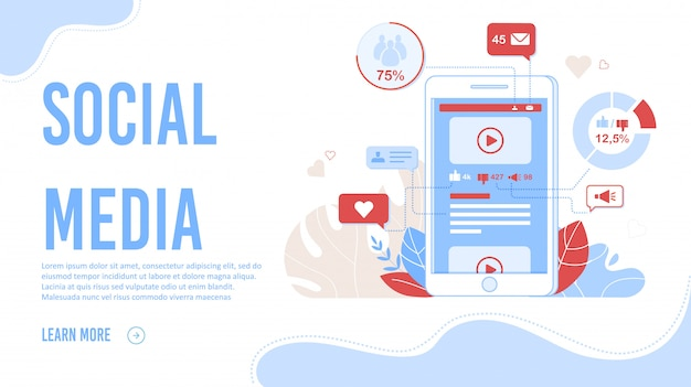 Réseaux de médias sociaux thematic flat landing page