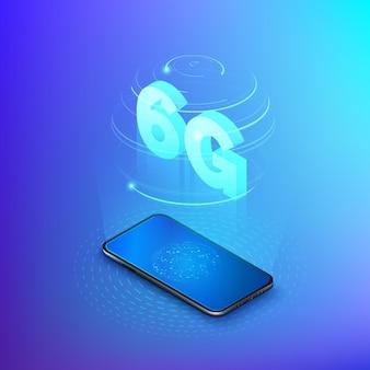 Réseaux mobiles rapides 6g. téléphone mobile avec réseau mondial à l'écran et hologramme de réseaux sans fil avec texte isométrique 6g à l'intérieur. contexte technologique.