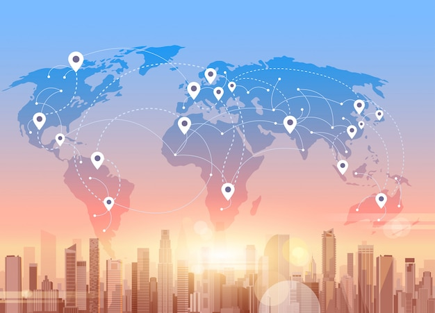 Réseaux sociaux communication connexion réseau internet ville gratte-ciel voir fond de carte du monde