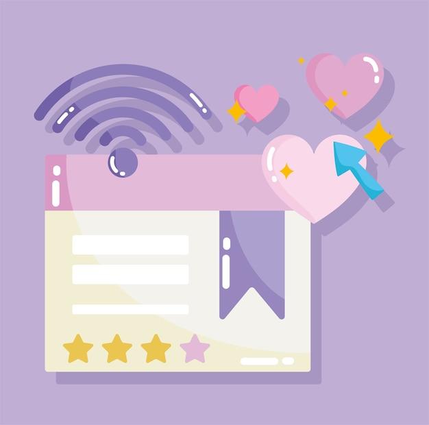 Réseaux sociaux, connexion internet de site web en illustration de style dessin animé