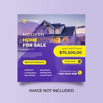 Réseaux sociaux instagram post home for sale banner template vecteur premium