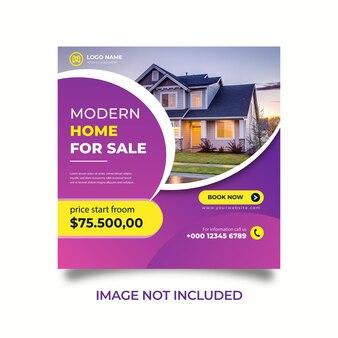 Réseaux sociaux instagram poster maison de bannière à vendre modèle de bannière vecteur premium