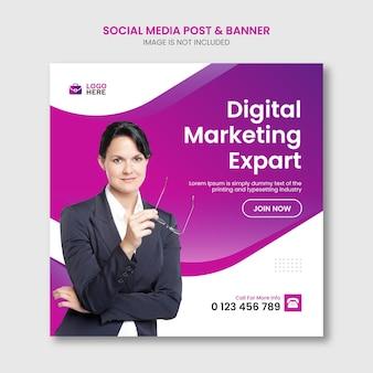 Réseaux sociaux de marketing d'entreprise numérique et modèle de publication instagram vecteur premium