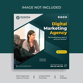 Réseaux sociaux de marketing numérique ou publication instagram design vector premium