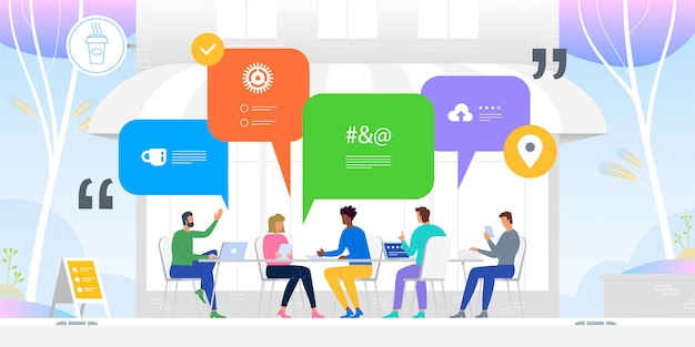 Réseaux sociaux. nouvelles, réseaux sociaux, chat, dialogues bulles. illustration