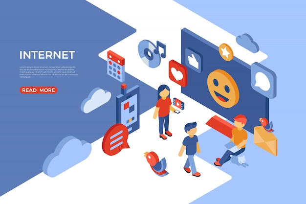 Réseaux sociaux et page de destination isométrique internet