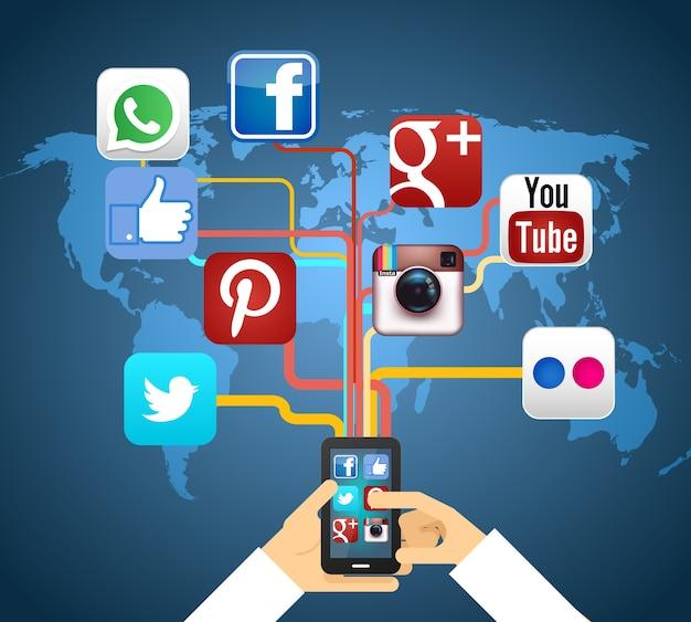 Réseaux sociaux en smartphone sur illustration vectorielle carte