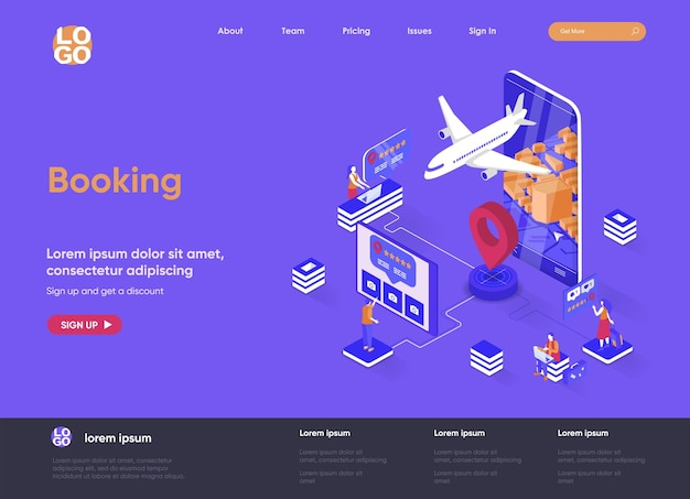 Réservation 3d illustration de site web de page de destination isométrique avec personnages de personnes