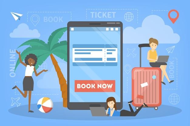 Réservation d'un billet d'avion en ligne sur l'appareil. concept de vol et de voyage. planification des vacances d'été. illustration