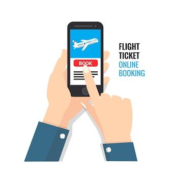 Réservation de billet d'avion en ligne via un smartphone