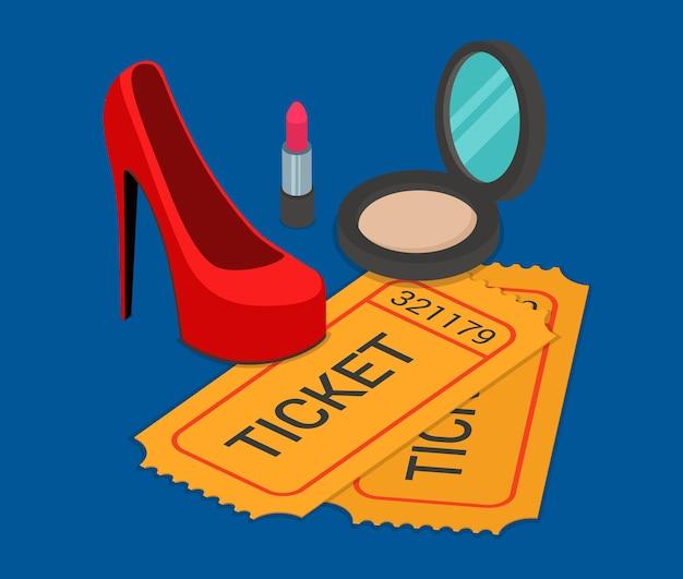 Réservation de billets de participation à un spectacle de mode prêt-à-porter plat isométrique