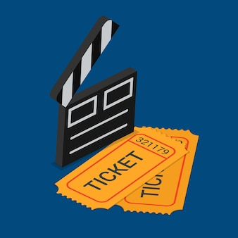 Réservation de billets de présence au cinéma théâtre plat isométrique