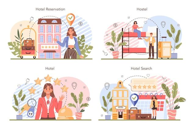 Réservation d'un ensemble de concept d'hôtel voyage et planification touristique réservation d'appartement