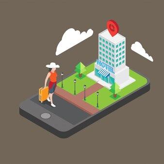 Réservation d'hôtel isométrique sur smartphone