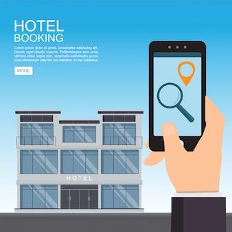 Réservation d'hôtel et recherche en ligne.