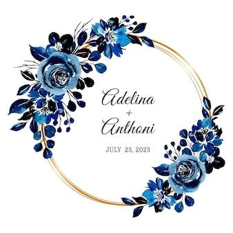 Réserve cette date. couronne florale aquarelle bleue