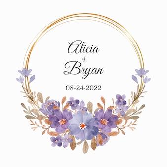 Réserve cette date. couronne florale violette et feuilles brunes