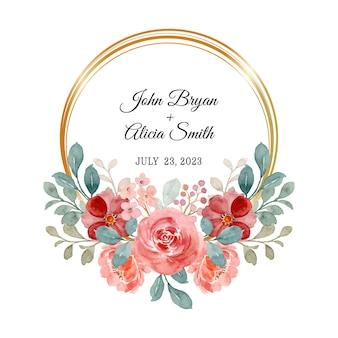 Réserve cette date. couronne de rose aquarelle avec cadre doré