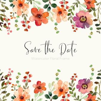 Réservez le cadre floral aquarelle date pour le printemps et l'été