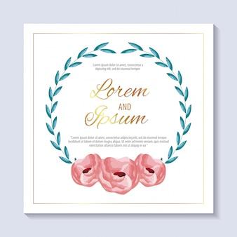 Réservez la carte de date avec des fleurs et feuillages roses