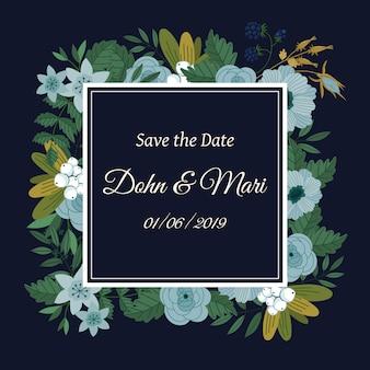 Réservez la carte de décoration de fleurs de date