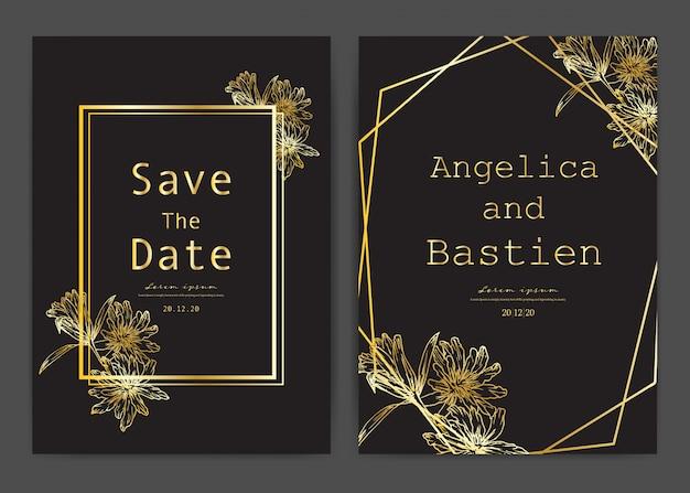 Réservez la carte de mariage de date, cartes d'invitation de mariage avec botanique dessiné à la main.