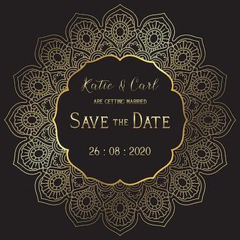 Réservez la carte de mariage de date avec un mandala élégant