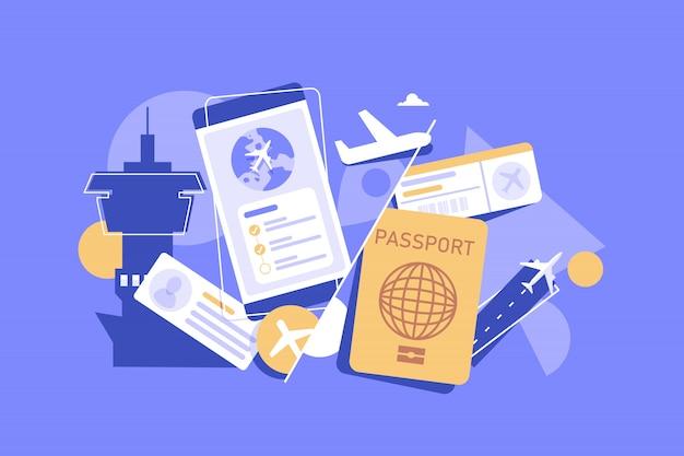 Réservez le concept de vol en ligne. idée de voyage et de tourisme. planifier un voyage en ligne. acheter un billet d'avion dans l'application