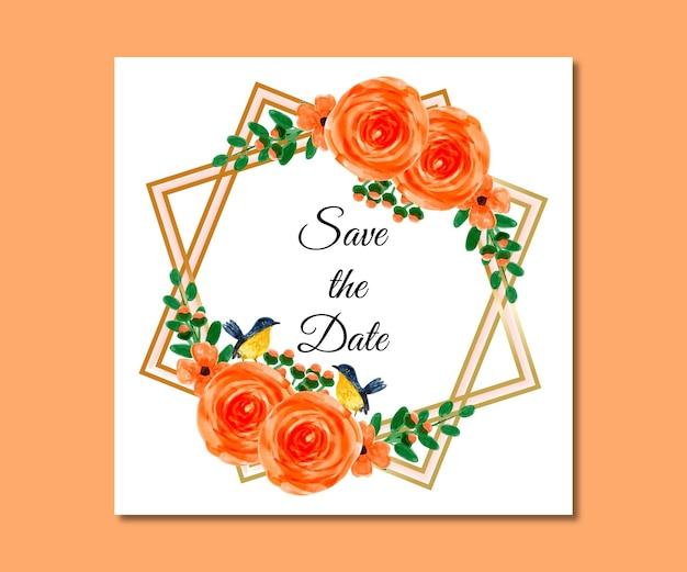 Réservez la date aquarelle fleurs d'oranger
