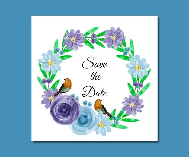 Réservez la date aquarelle fleurs premium