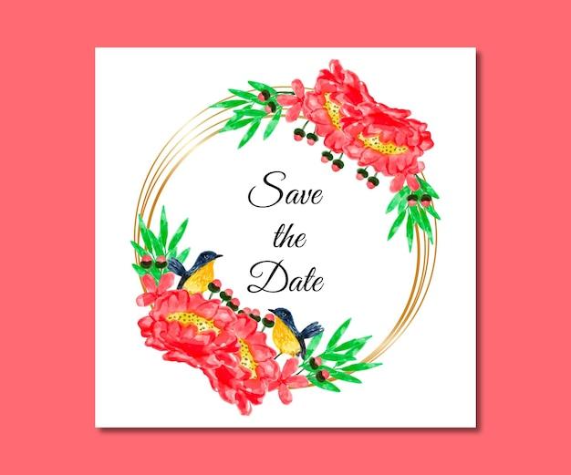 Réservez la date aquarelle fleurs rouges
