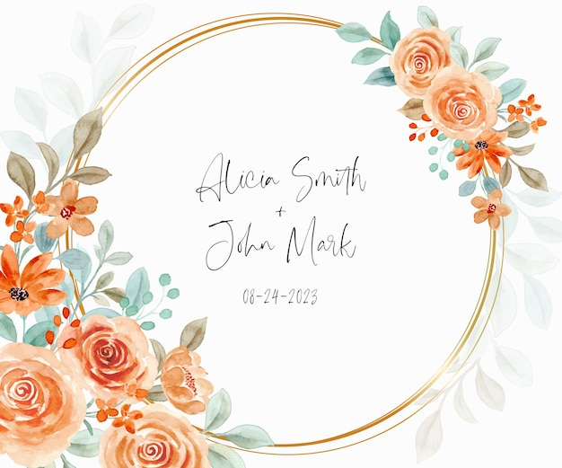 Réservez la date cadre de fleur rose aquarelle