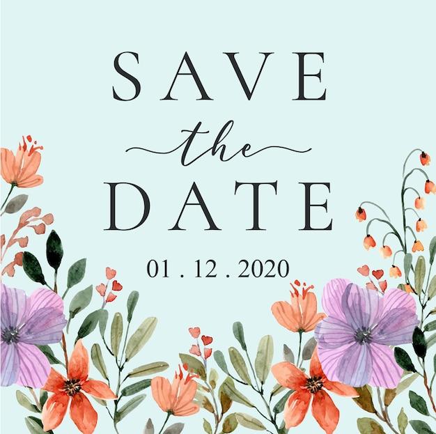 Réservez la date avec cadre de fleurs sauvages aquarelle