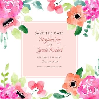 Réservez la date avec un cadre floral aquarelle