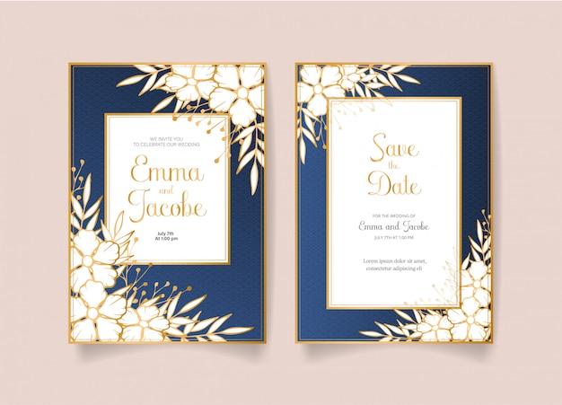 Réservez la date, carte d'invitation de mariage avec des fleurs, des feuilles et des branches dorées.
