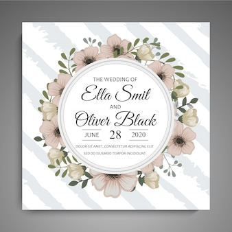 Réservez la date, carte d'invitation de mariage avec un modèle de fleur guirlande
