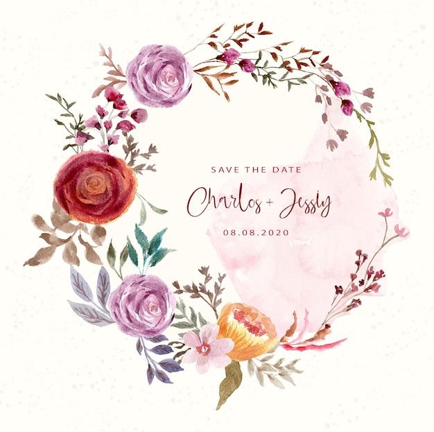 Réservez la date avec une couronne de fleurs aquarelle vintage