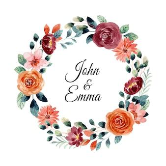Réservez la date couronne florale aquarelle