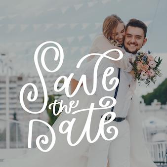 Réservez la date du mariage avec photo