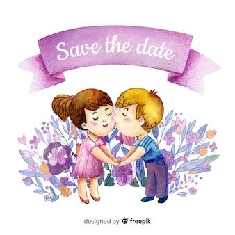Réservez la date joli couple s'embrasser
