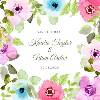 Réservez la date avec le magnifique cadre de fleurs à l'aquarelle